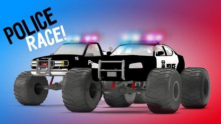 Fire Brigade S Monster Trucks Police Car Chase Cartoon