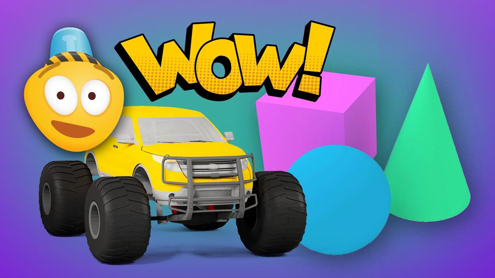 learn 3d shapes and race monster trucks monster truck stunts